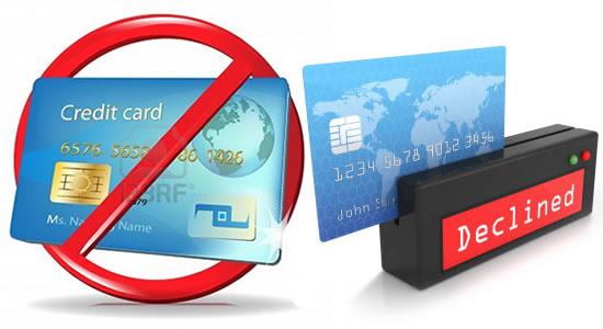 Tarjeta de crédito rechazada